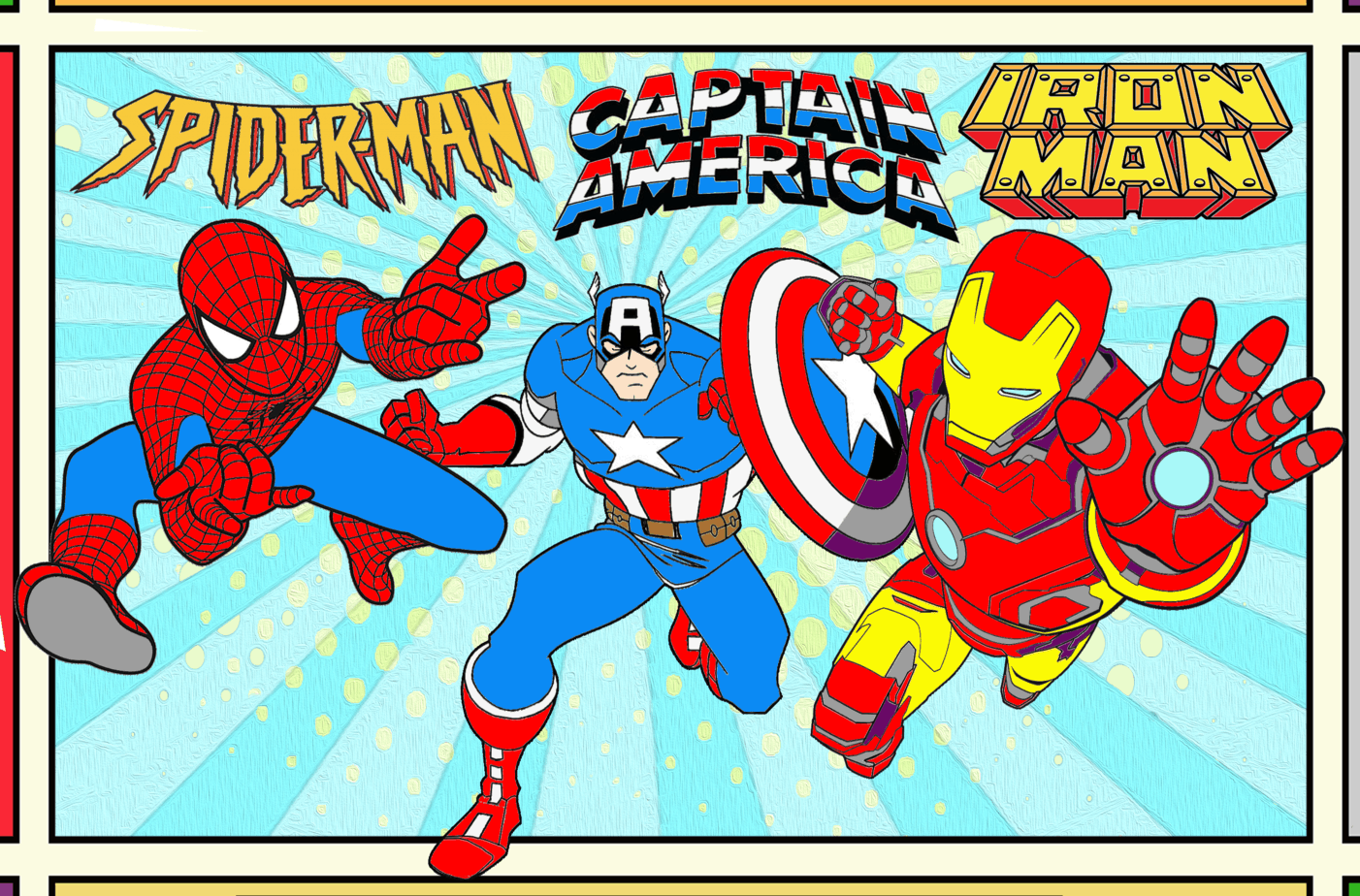Spider man, Iron man, and Captain America Coloring Page
